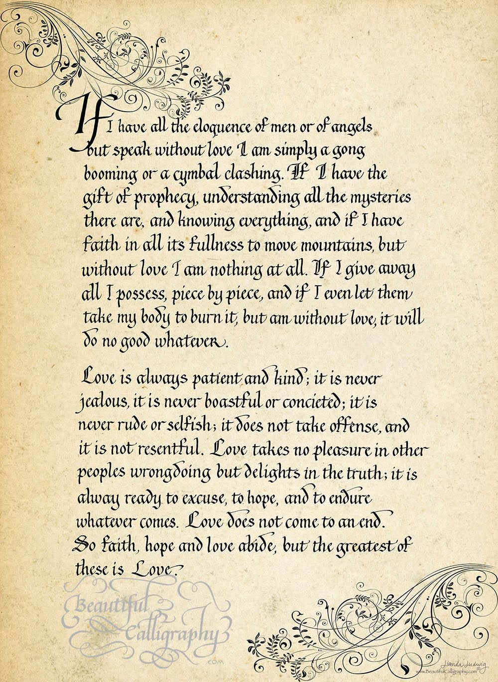 Corinthians in gothicized italic calligraphy love poem
