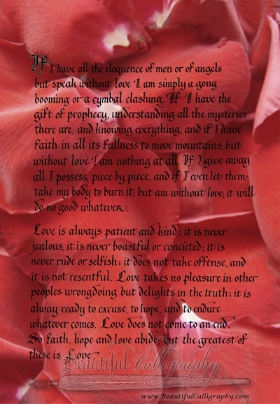Corinthians Bible reading in calligraphy superimposed on red roses
