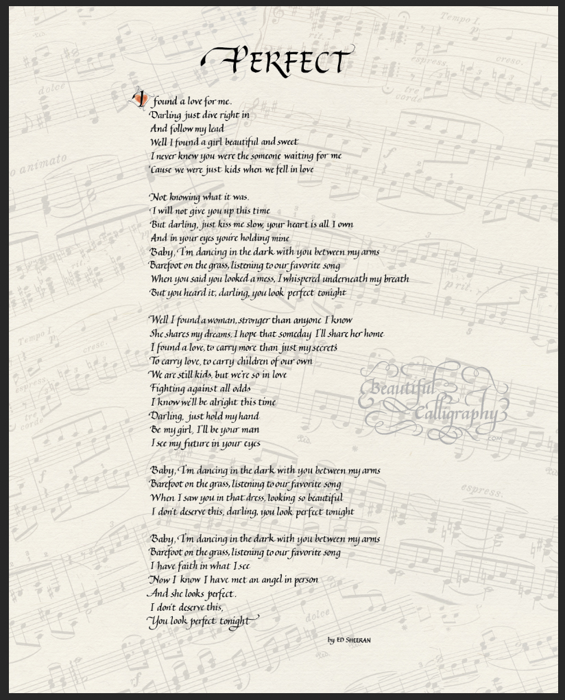 Music Lyrics in calligraphy on sheet music background