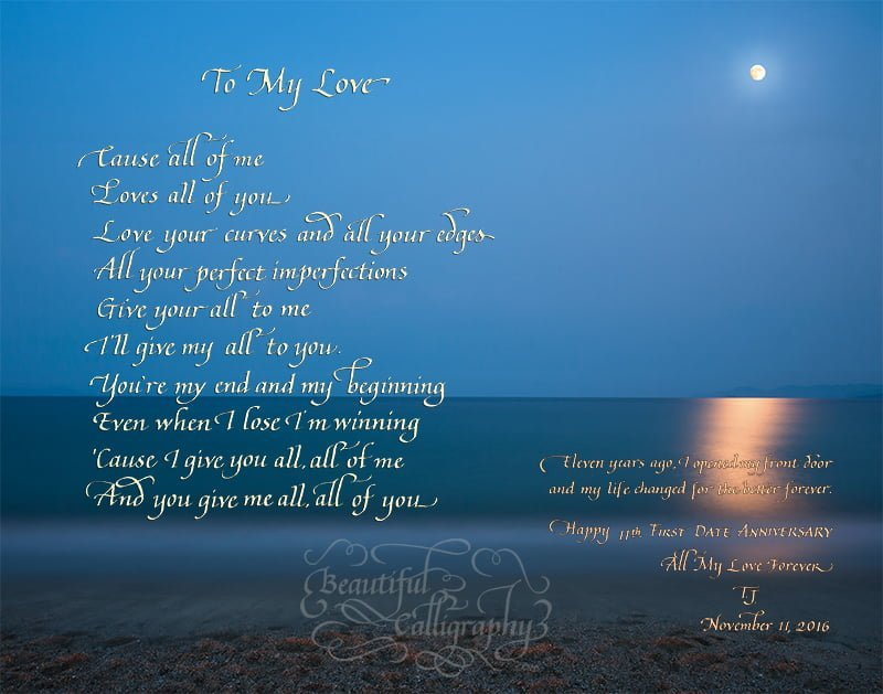 John Legend - All-of-me-Legend-lyrics in calligraphy on beautiful background of moon reflecting on the ocean