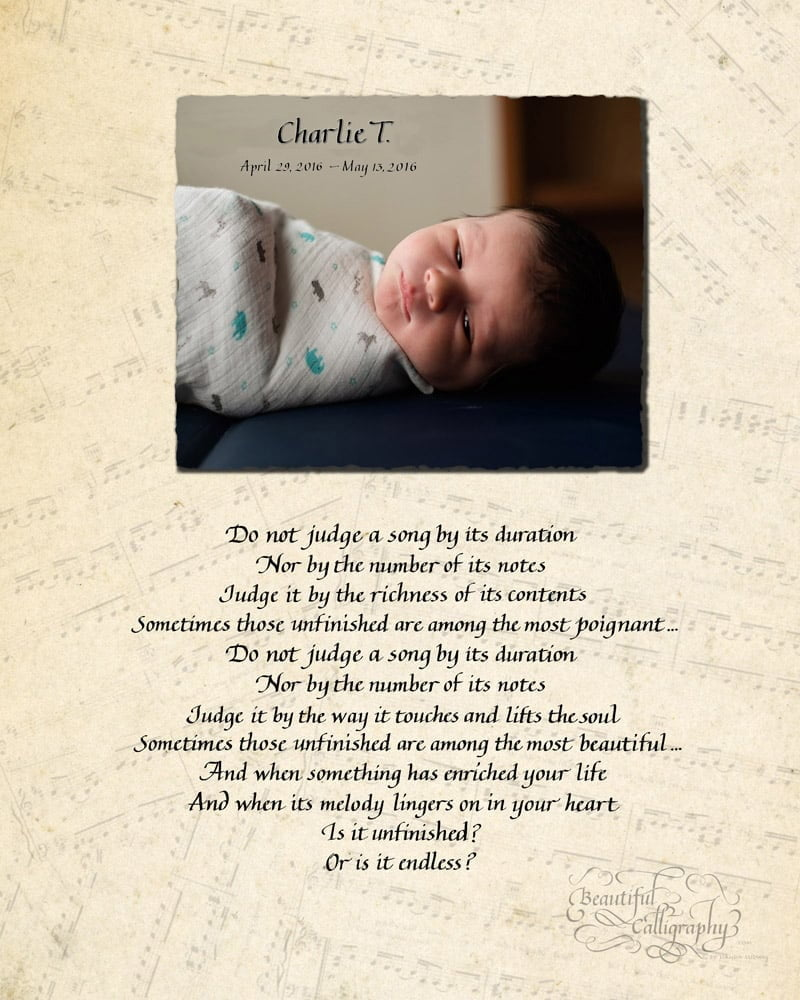 memorial poem for baby who passed away written in calligraphy with baby's photo