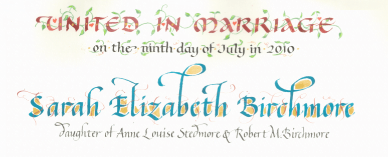 decorated colorful letters in headings in styles of calligraphy