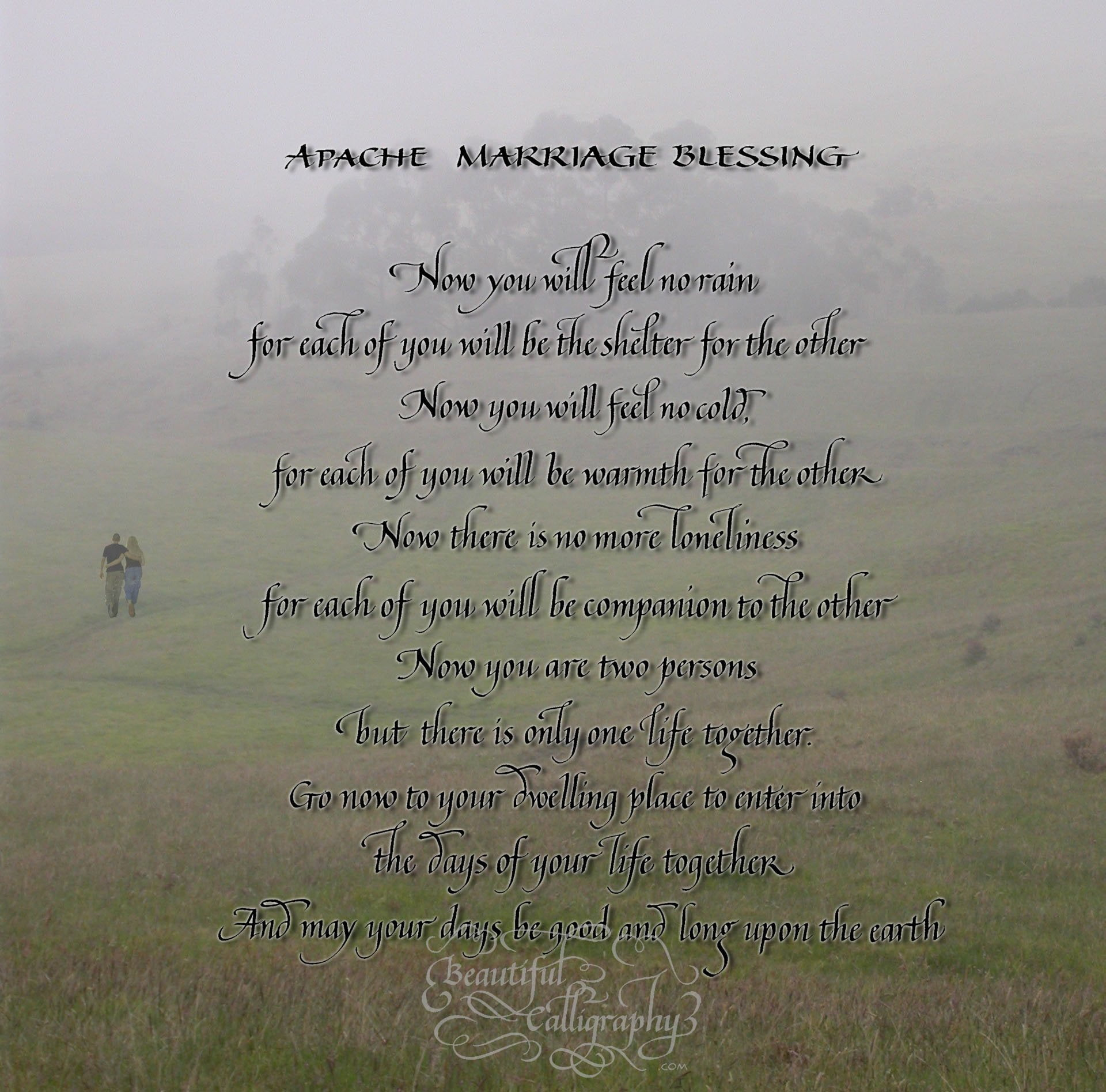 Apache Wedding Blessing in calligraphy