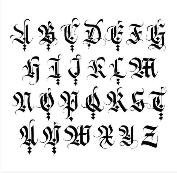 Gothic capital letters in calligraphy are very ornate