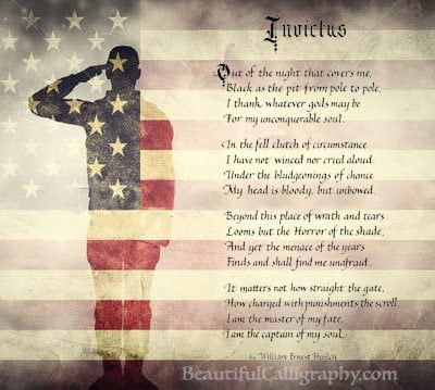 Invictus Poem on American Flag with soldier for Military Gift