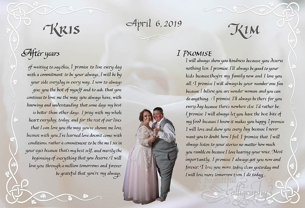 LGBTQ- Gay Wedding Vows in calligraphy with photo of the happy couple