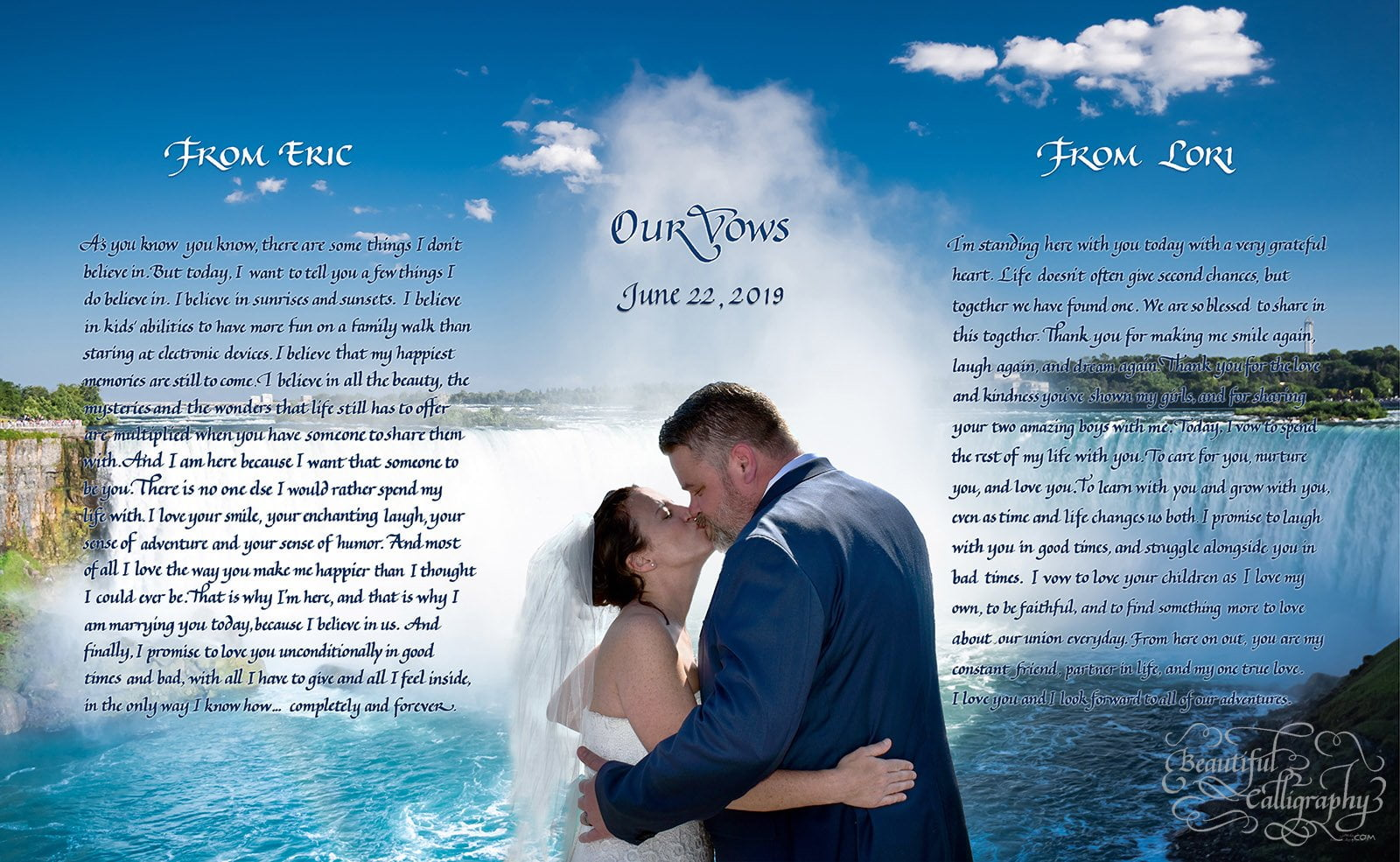 Couples Marriage Vows in calligraphy with beautiful wedding photo