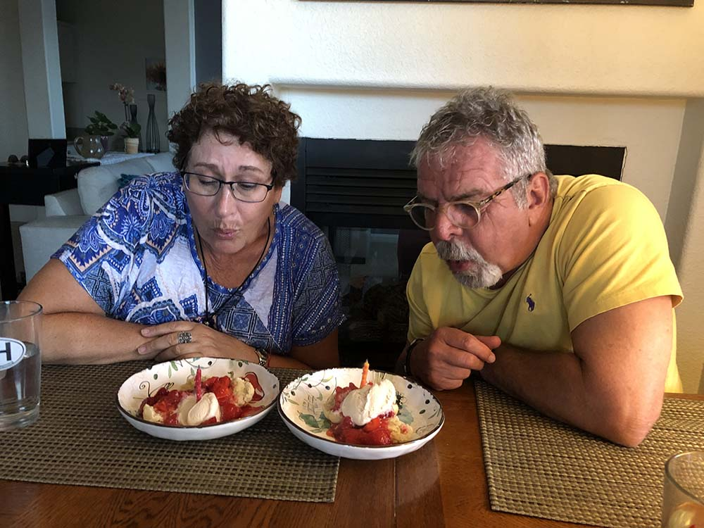The calligrapher, Lianda and her husband celebrating our birthday- candid photo