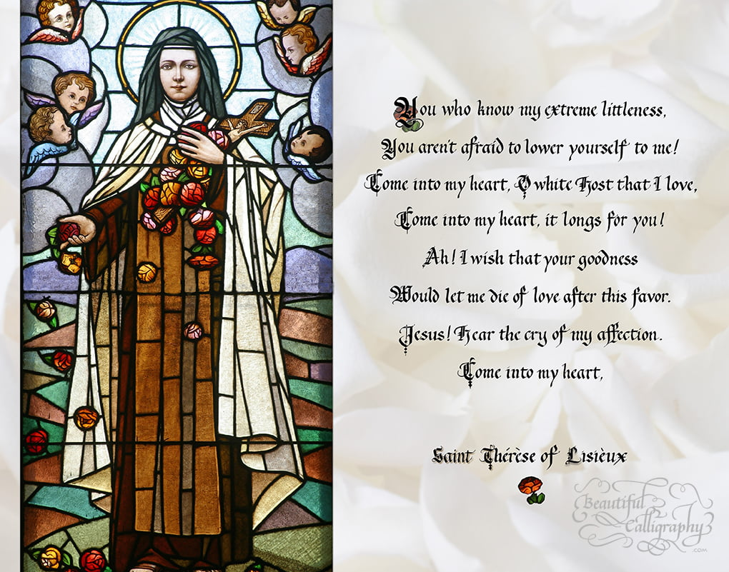 Patron Saint Terese stained glass window with quote written in gothicized italic calligraphy
