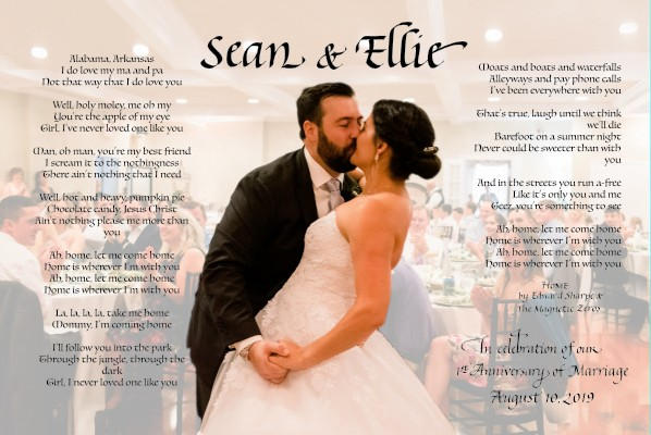 candid photo of the first dance at their wedding with song lyrics in calligraphy