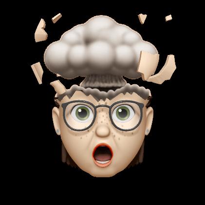 Lianda's memoji head exploding