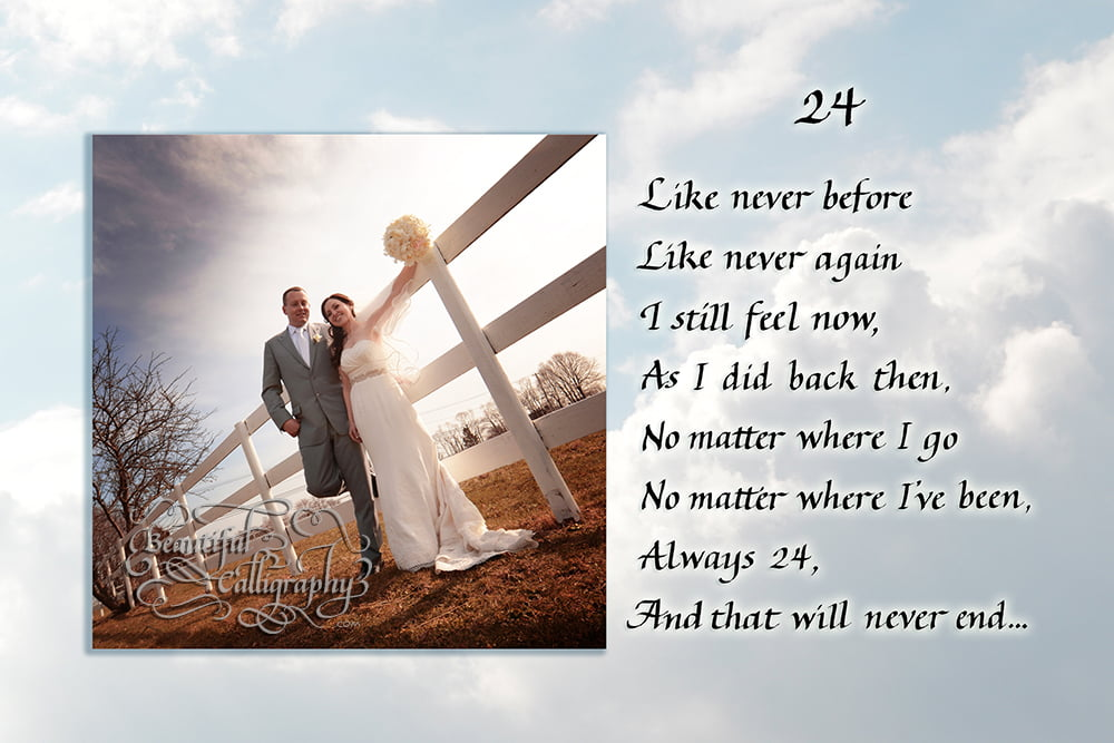 sky background behind your photo goes with contemporary look and calligraphy text