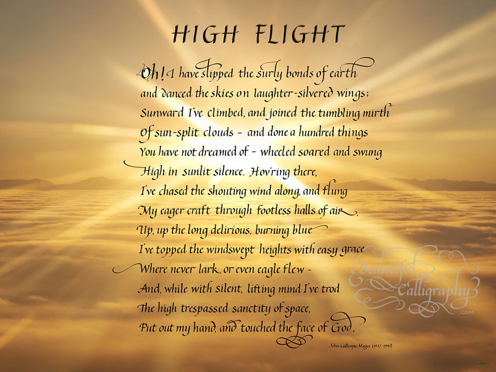 Air Man's Prayer, High Flight partially flourished calligraphy