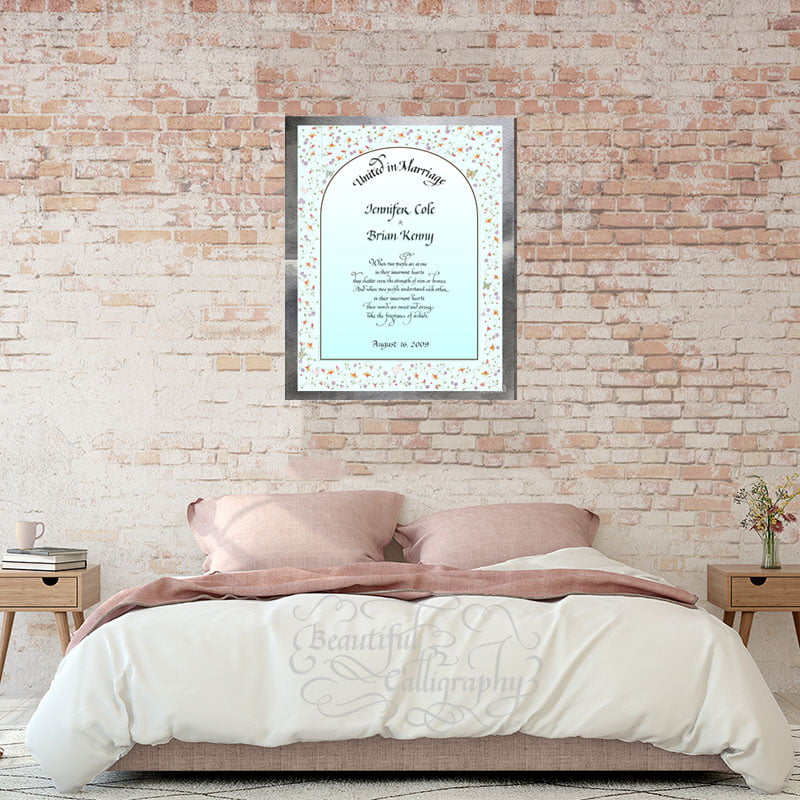 Calligraphy Marriage Certificate framed over the bed