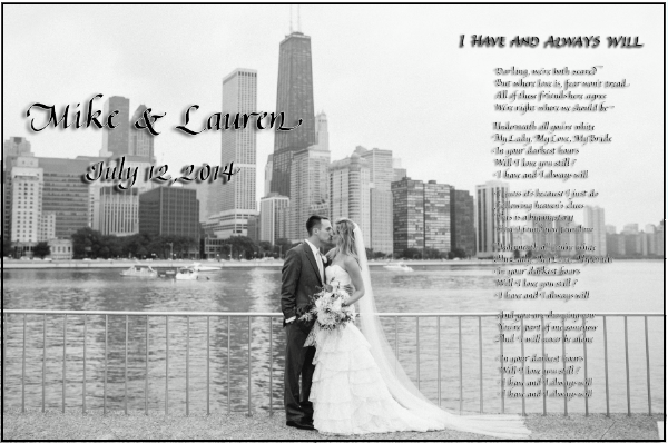 Wedding song lyrics in calligraphy superimposed on a wedding photo