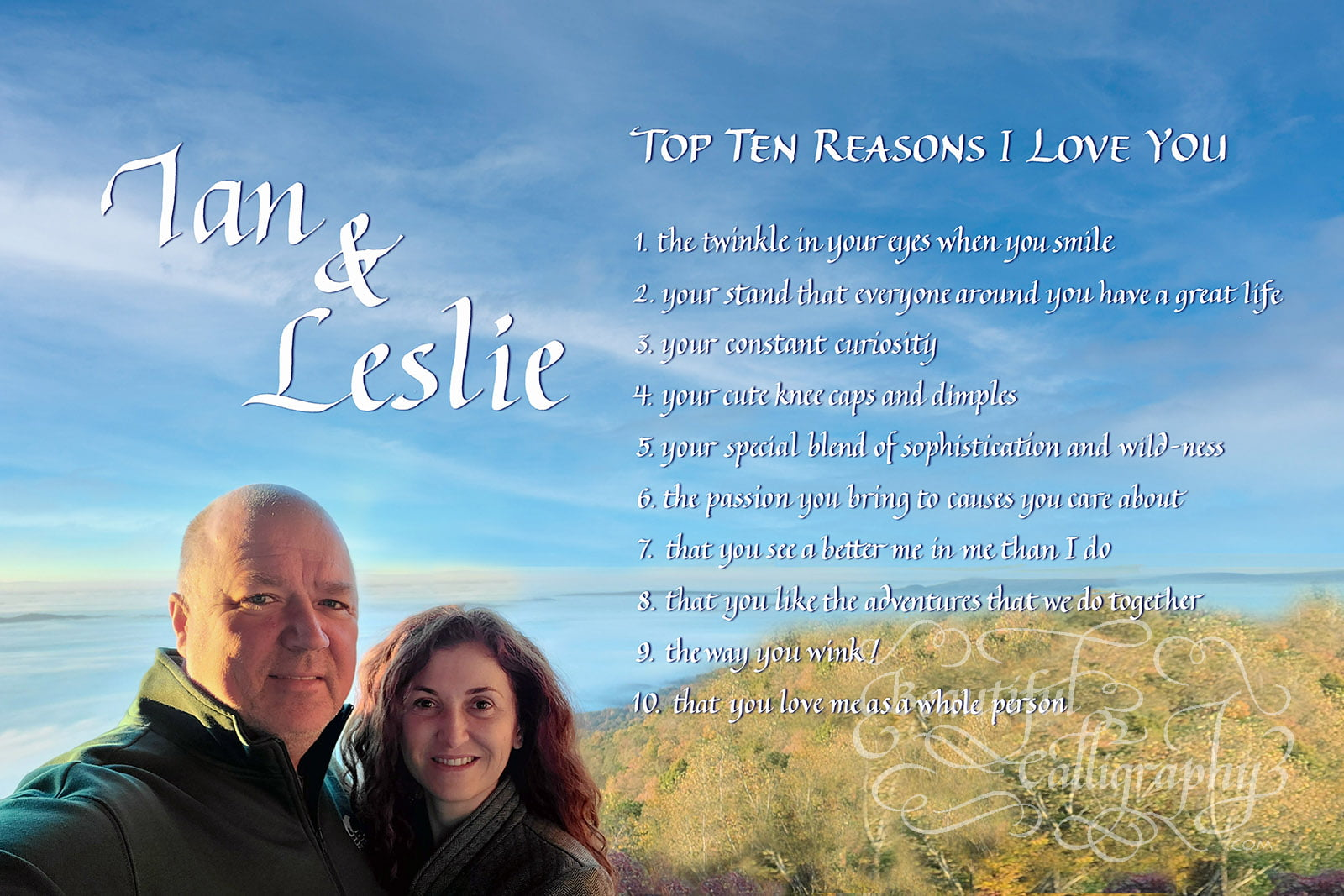 Ideas to express love written in calligraphy with personal photograph with a beautiful background