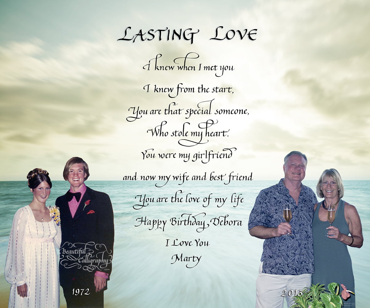 Long Lasting Marriages then and now with quote in calligraphy and photos