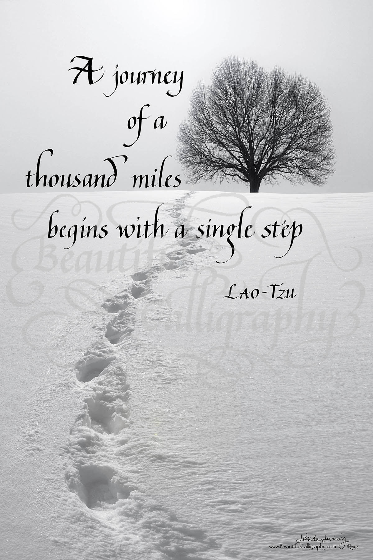A journey of a thousand miles inspirational quote by Lao-Tzu in calligraphy