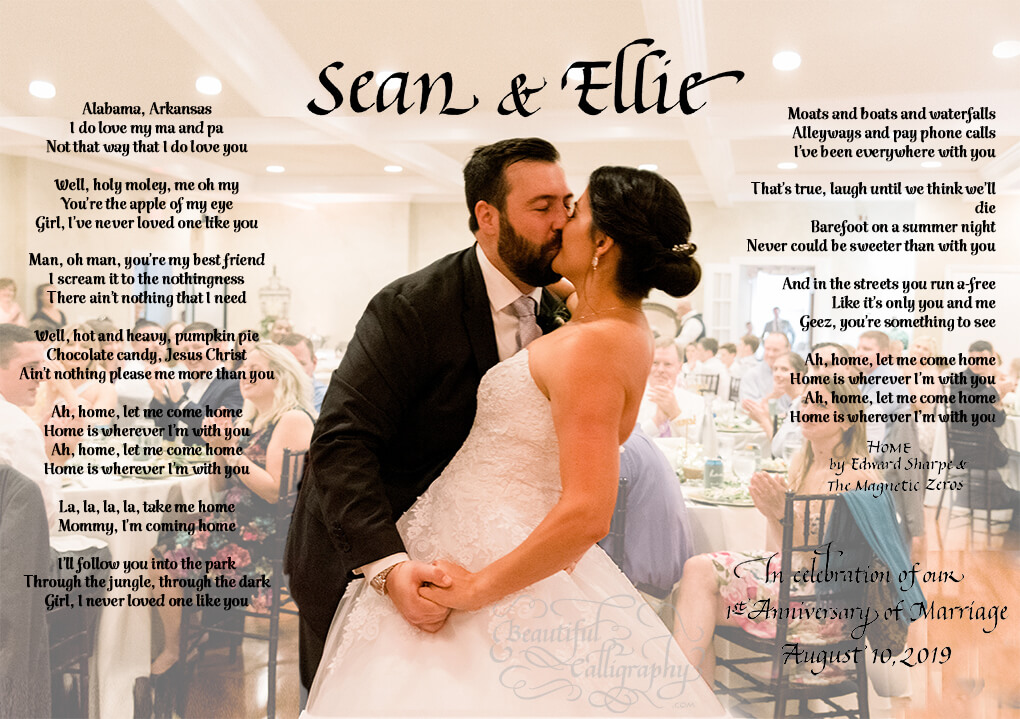 First first anniversary custom calligraphy and computer font