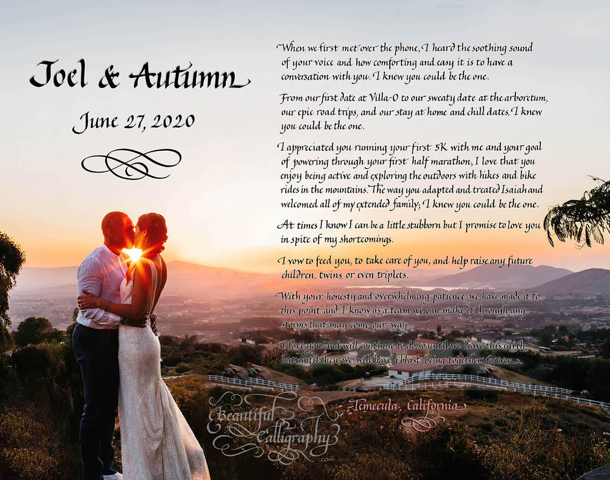 First Anniversary Husband's marriage vows in calligraphy superimposed on a wedding photo