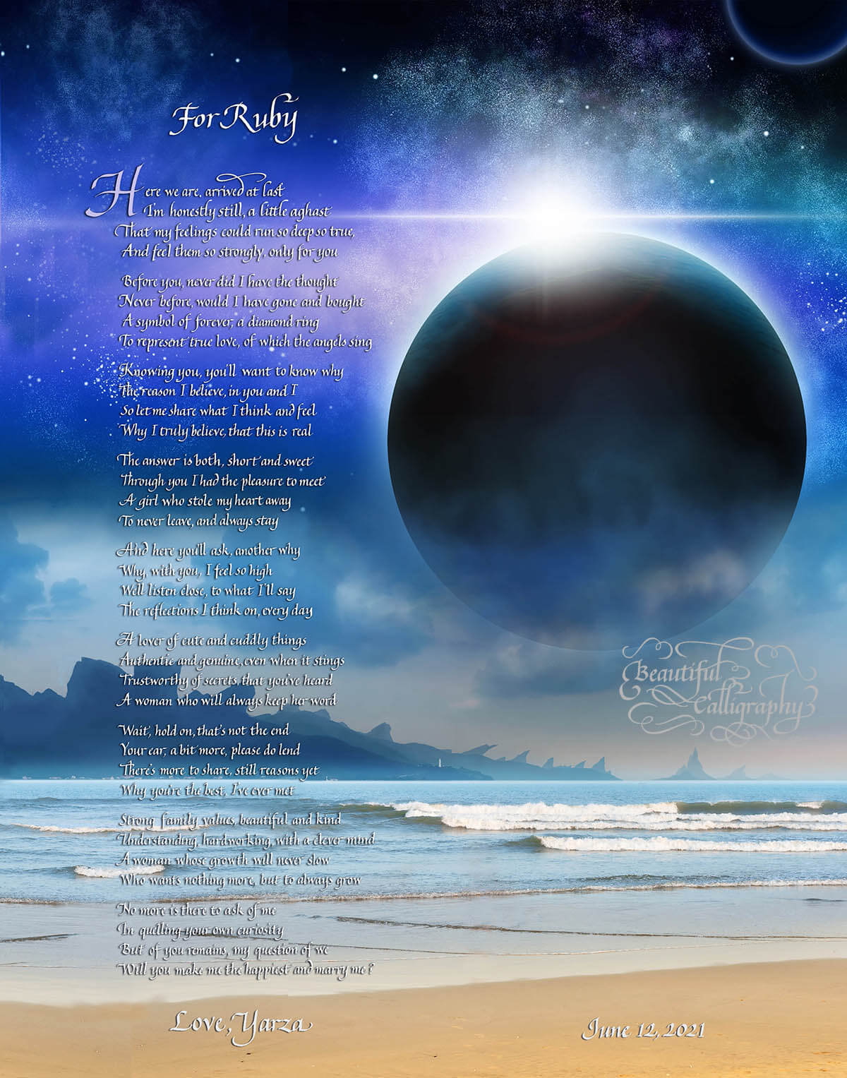 Unusual marriage proposal poem background of beach and large planet